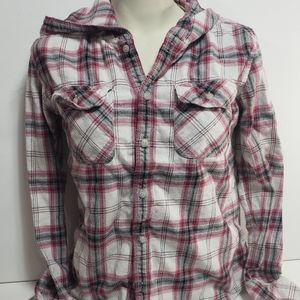 TNA Hooded Flannel Long Sleeve Top